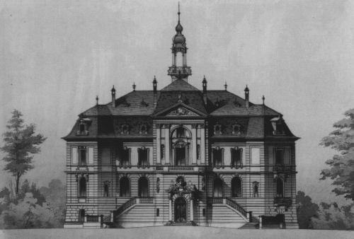 Der Heylshof im 19. Jahrhundert (Zeichnung des Architekten)