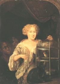 Pieter van Slingeland: Bildnis einer Dame mit Vogelbauer (Kat. Nr. 39)