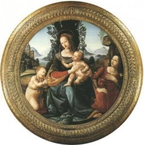 Maria mit Kind, Johannes und Engel