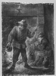 Zwei Raucher am Kamin