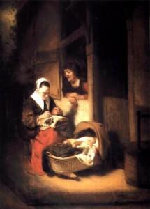 Junge Klöpplerin und alte Frau bei einer Wiege vor der Haustür