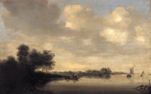 Kanallandschaft mit Fischerboot