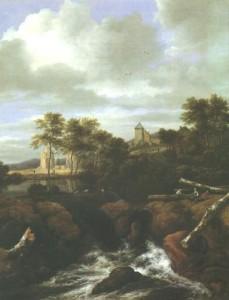 Ruinenlandschaft mit Wasserfall