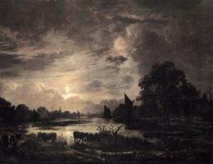 Kanallandschaft im Mondschein