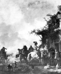 Halt einer Reitergesellschaft am Bauernhaus